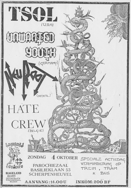 87-10-04 TSOL - Unwanted Youth - Neuroot- Hate Crew